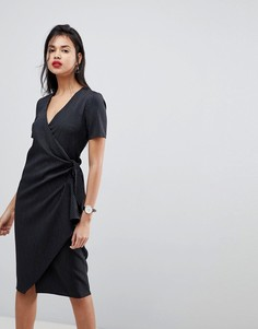 Платье миди в полоску с запахом и карманами ASOS - Мульти