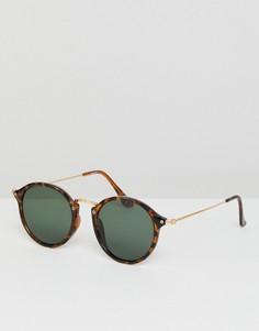 Круглые солнцезащитные очки в черепаховой оправе с зелеными стеклами ASOS - Коричневый