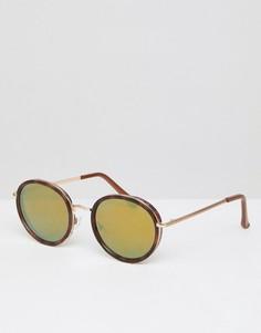 Черепаховые круглые солнцезащитные очки с золотистыми зеркальными стеклами ASOS - Коричневый