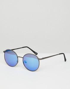 Круглые солнцезащитные очки цвета пушечной бронзы с синими стеклами ASOS - Серебряный