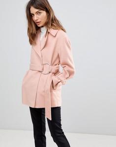 Байкерское пальто с поясом ASOS - Розовый