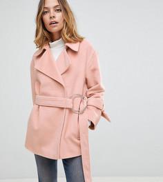Мягкое пальто с поясом ASOS PETITE - Розовый