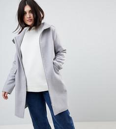 Пальто с капюшоном и молнией ASOS CURVE - Серый