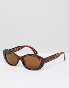 Черепаховые солнцезащитные очки с коричневыми овальными стеклами ASOS - Коричневый