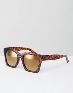 Квадратные солнцезащитные очки в черепаховой оправе AJ Morgan Knock - Коричневый