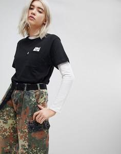 Свободная футболка с карманом и принтом кота Rip N Dip - Черный