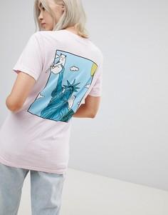 Свободная футболка с принтом Статуя Свободы на спине Rip N Dip - Розовый