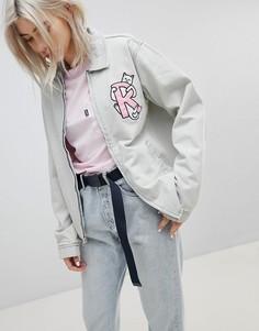 Джинсовая куртка бойфренда с вышитым логотипом и контрастной клетчатой подкладкой Rip N Dip - Синий