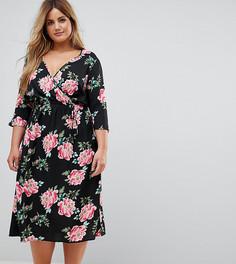 Платье миди с запахом и расклешенными рукавами Influence Plus - Черный