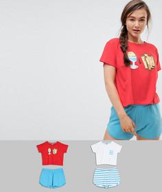 Пижамный комплект с футболкой и шортами (2 шт.) ASOS - Мульти