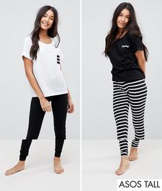2 пижамных комплекта с леггинсами (в полоску, с вышивкой Dreamy) ASOS TALL - Мульти
