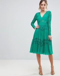 Плиссированное платье миди с кружевом ASOS - Зеленый