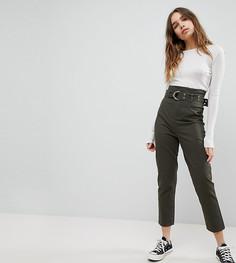Широкие брюки с завышенной талией и длинным ремнем ASOS STEVIE - Зеленый