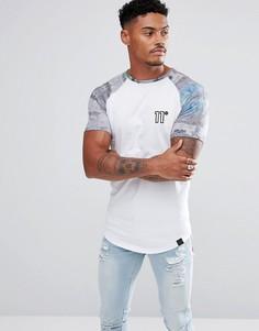 Белая обтягивающая футболка с принтом на рукавах 11 Degrees - Белый