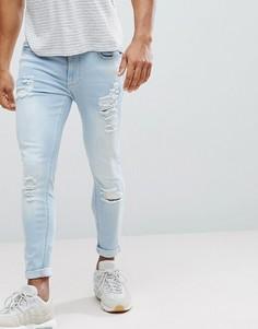 Черные обтягивающие джинсы с рваной отделкой 11 Degrees - Синий