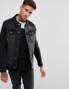 Черная узкая джинсовая куртка 11 Degrees - Черный