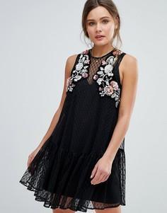 Свободное платье мини из сетчатой ткани добби с цветочной отделкой ASOS - Черный