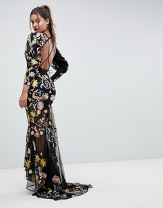 Платье макси с открытой спиной и вышивкой ASOS EDITION - Мульти