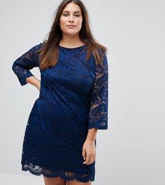 Кружевное свободное платье с рукавами 3/4 Rage Plus - Темно-синий