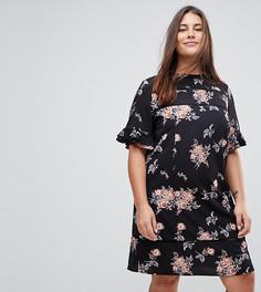 Платье с короткими рукавами и цветочным принтом Rage Plus - Мульти