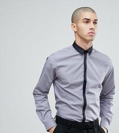 Приталенная рубашка с контрастной планкой Noak - Серый