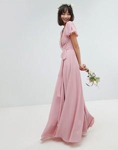 Платье макси с запахом, поясом на завязке и пышными рукавами TFNC - Розовый