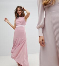 Платье макси с асимметричным подолом TFNC WEDDING - Розовый