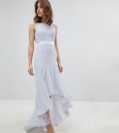 Платье макси с асимметричным подолом TFNC WEDDING - Серый