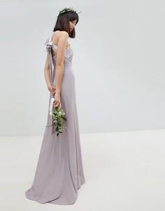 Плиссированное платье макси с бантом на спине TFNC - Серый