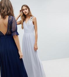 Платье макси с запахом и отделкой TFNC WEDDING - Серый