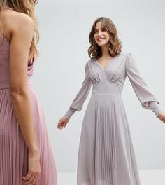 Платье миди с длинными рукавами и юбкой плиссе TFNC WEDDING - Серый