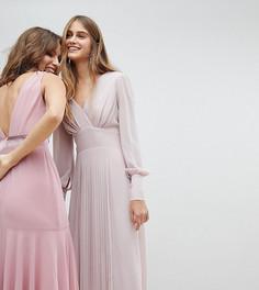 Платье миди с длинными рукавами и юбкой плиссе TFNC WEDDING - Коричневый