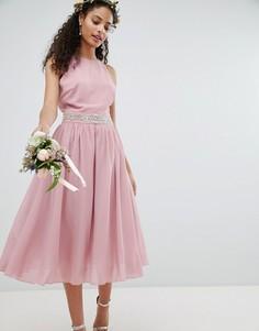 Платье миди с пышной юбкой TFNC - Розовый