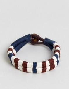 Плетеный браслет из хлопка и кожи Jack & Jones - Мульти