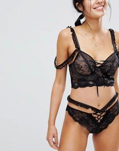Бразильские трусы со шнуровкой ASOS PREMIUM Danielle - Черный