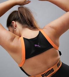 Черно-оранжевый спортивный бюстгальтер на молнии Puma Plus эксклюзивно для ASOS - Мульти