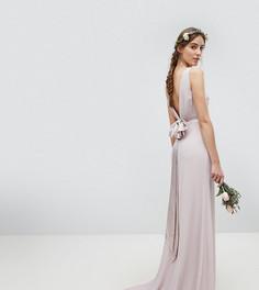 Платье макси из сатина с бантом на спине TFNC Tall - Коричневый