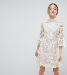 Короткое приталенное платье с высоким воротом, вышивкой и манжетами клеш Dolly & Delicious Tall - Кремовый