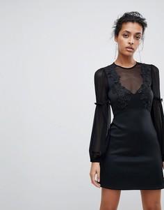 А-образное платье мини с кружевом ASOS - Черный