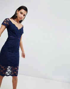 Кружевное платье-футляр миди ASOS - Темно-синий