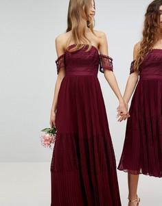 Премиум-платье макси с кружевными вставками ASOS Bridesmaid - Красный