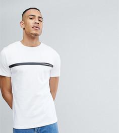 Футболка с полоской и карманом Selected Homme TALL - Белый