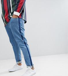 Синие выбеленные джинсы скинни с отделочными швами по бокам ASOS PLUS - Синий
