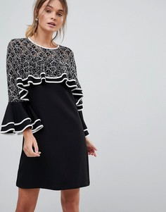 Платье с кружевной отделкой и оборками Liquorish - Черный