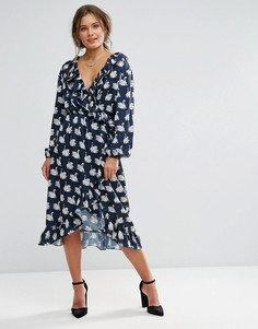 Платье миди с запахом и принтом Liquorish - Темно-синий