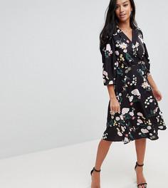 Платье с запахом и цветочным принтом Uttam Boutique Petite - Мульти