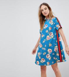 Свободное платье с высоким воротом и цветочным принтом Influence Tall - Синий