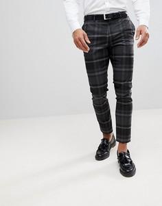 Серые строгие брюки зауженного кроя в клетку River Island - Серый