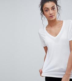Свободная футболка с V-образным вырезом ASOS TALL - Белый