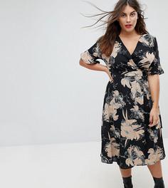 Платье с запахом и цветочным принтом Uttam Boutique Plus - Мульти